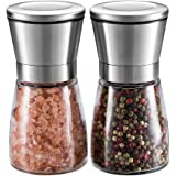 Salt and Pepper Grinder Set – UTRO Brushed Stainless Steel Pepper Mill and Salt Mill with Adjustable Coarseness