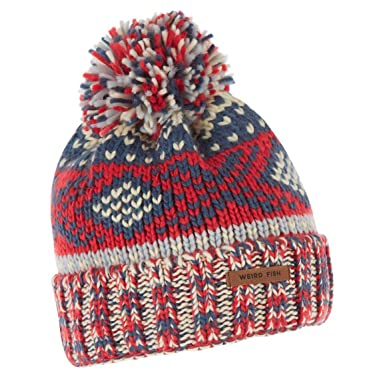 Weird Fish Columbus Fair Isle Knit Bobble Hat Dark Red Size One ...