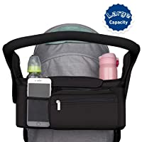 Stroller Organizer with Stroller Cup Holders Detachable Bag & Shoulder Strap, Extra 2 Pack Non-slip Stroller Hooks Included Great for Carrying Shopping Bags, Universal Stroller Accessories Fit for Mos
