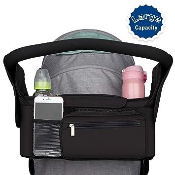 Universal Stroller Organizer Bag Animals Pattern Stroller Hanging Bag Multiple Pockets Cup Holders Stroller Accessory