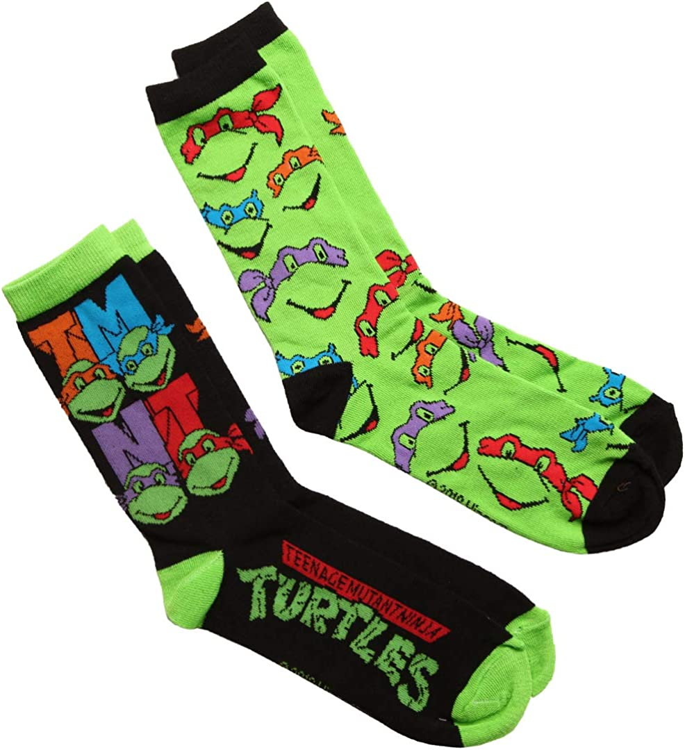 L14 2 Pair Ninja Turtles Dress Socks Men/'s Shoe Size 6-12.5 Gift Crew TMNT