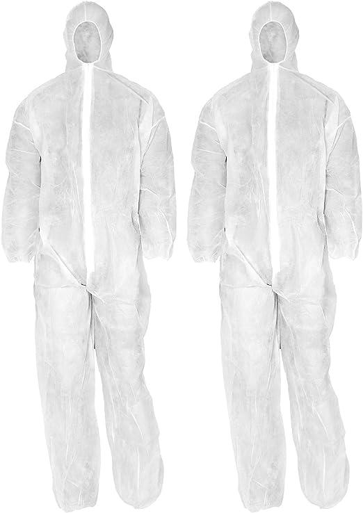 com-four® Traje Protector desechable 2X en Blanco con Capucha y ...