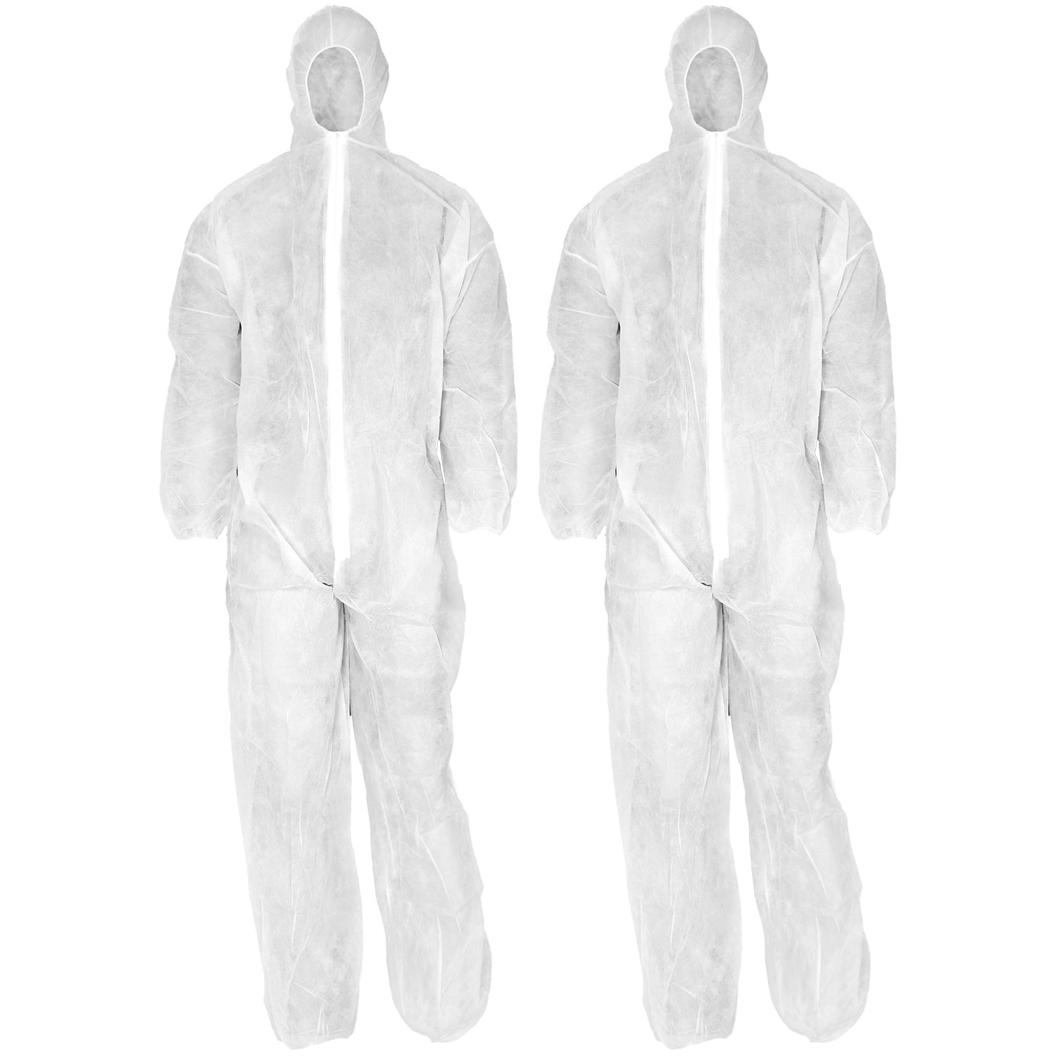 COM-FOUR® 2x disposable protective suit in white with hood and zipper, painter overalls in one size for painting and renovating (02 pieces - Overall)