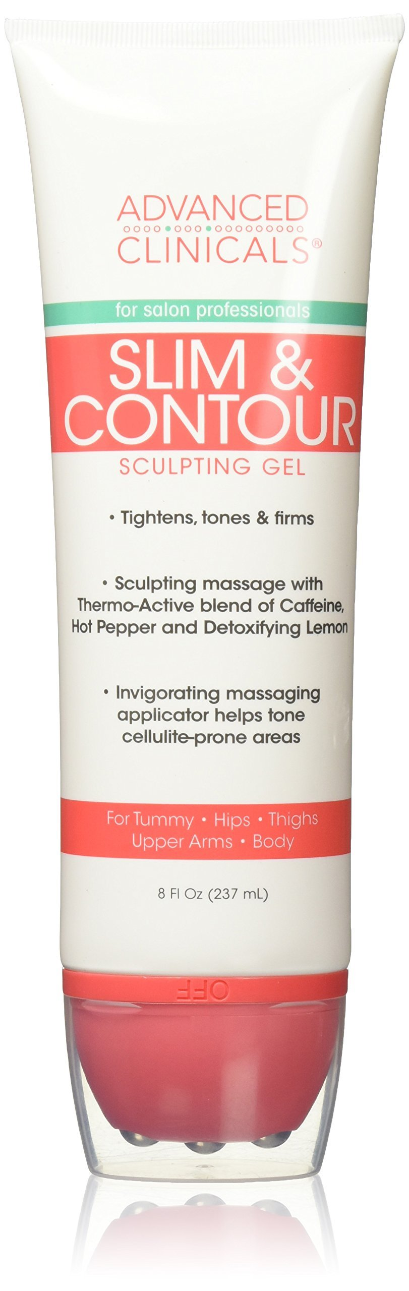 Advanced Clinicals Slim & Contour Sculpting Gel. Massaging Gel with Applicator for Tummy, Hips, Thighs, Upper Arms, Body. With Capsaicin, Coffee Bean Oil, and Seaweed. 8oz tube.