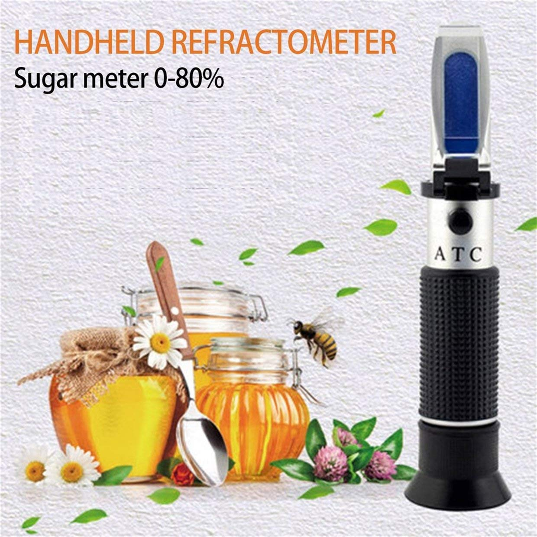Misuratore portatile di zucchero di apicoltura di apicoltura di rifrattometro del miele di MXECO 0-80/% Brix Honey tenuto in mano misura altamente accurata