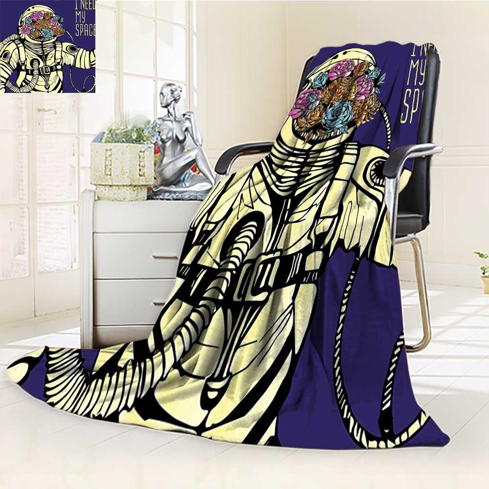 YOYI-HOME Weave Pattern Extra Long Duplex Printed Blanket Outer Space Floral Cosmonaut Man in Spacesuit Solar System Alien Comet Image Yellow Blue Custom Design Cozy Flannel Blanket /W59 x H47