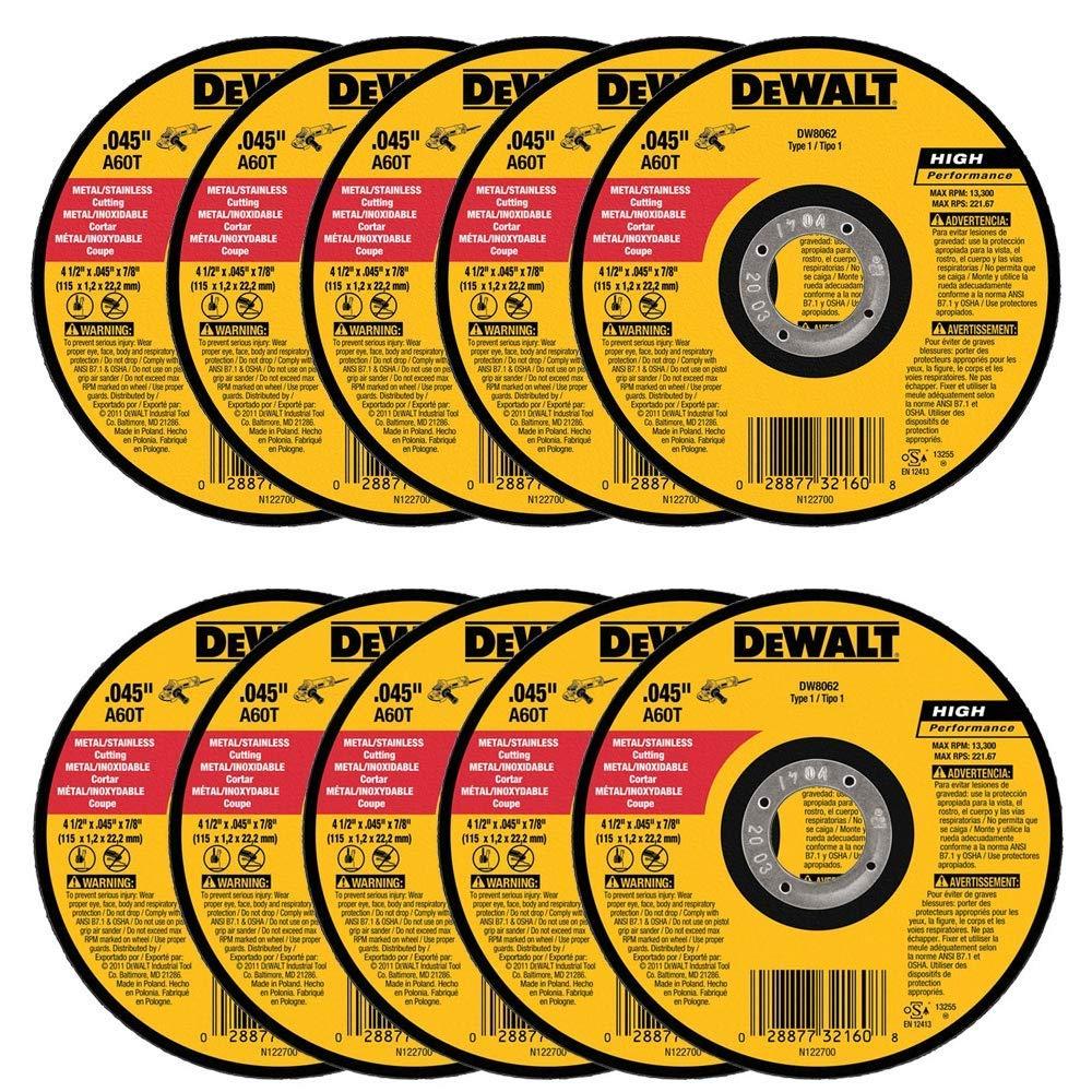 DEWALT DW8062 4-1/2'' x .045 x 7/8'' Metal Cut-Off Wheel (10pk)
