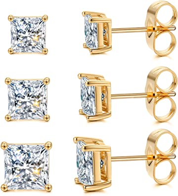 6mm Round Clear CZ 14K Solid Yellow Gold Stud Earrings 4 Prong Setting