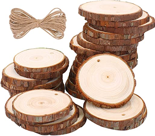 5ARTH Natural Wood Slices 30 Pcs 2.4-2.8 inches Craft Unfinished Wood kit Predrilled with Hole Wooden Circles for Arts Wood Slices Christmas Ornaments DIY Crafts