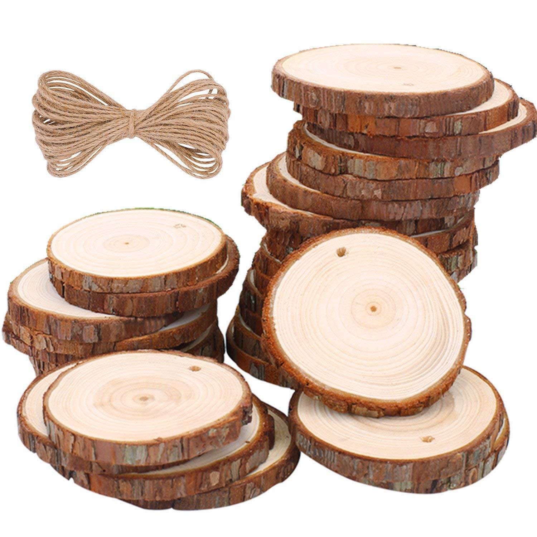 ... Madera Círculos 8-9cm 20 pezzi TICOSH Discos de Madera Rebanada 10m Cuerda de Cáñamo Maderas Naturales Perforado Con Corteza de Árbol Para Manualidades: ...