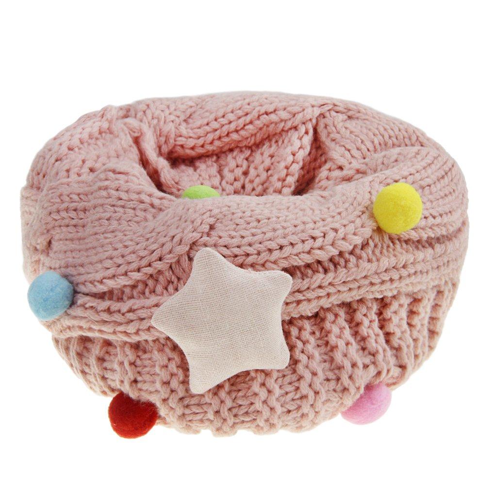 Mädchen Winter Schlauchschal Rundschal warm Loop Schal mit Stern Muster Weich O Ring Schals Halstuch(4 -12 Jahre)