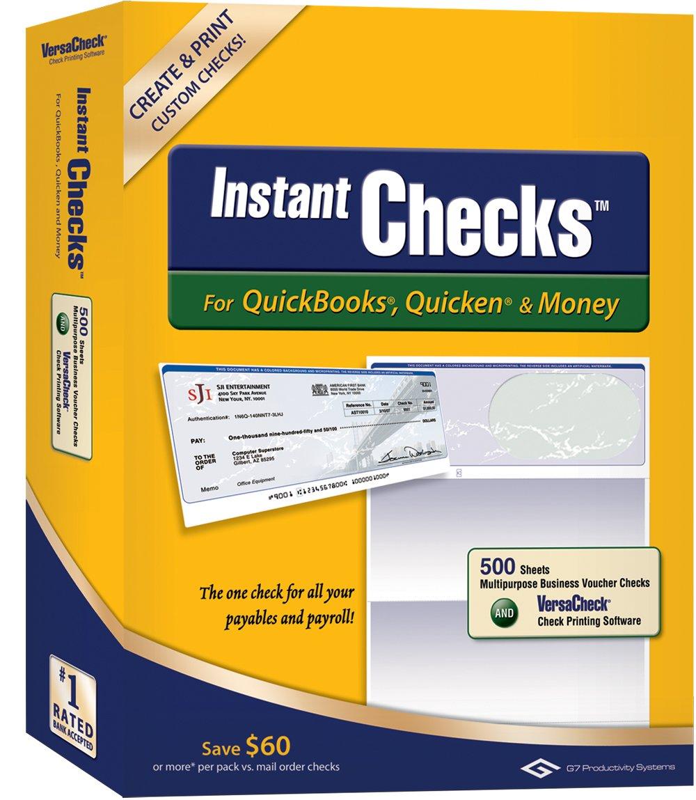 Instant Checks for QuickBooks, Quicken & Money: Form #1000 Business Voucher - Green Prestige 500pk by VersaCheck