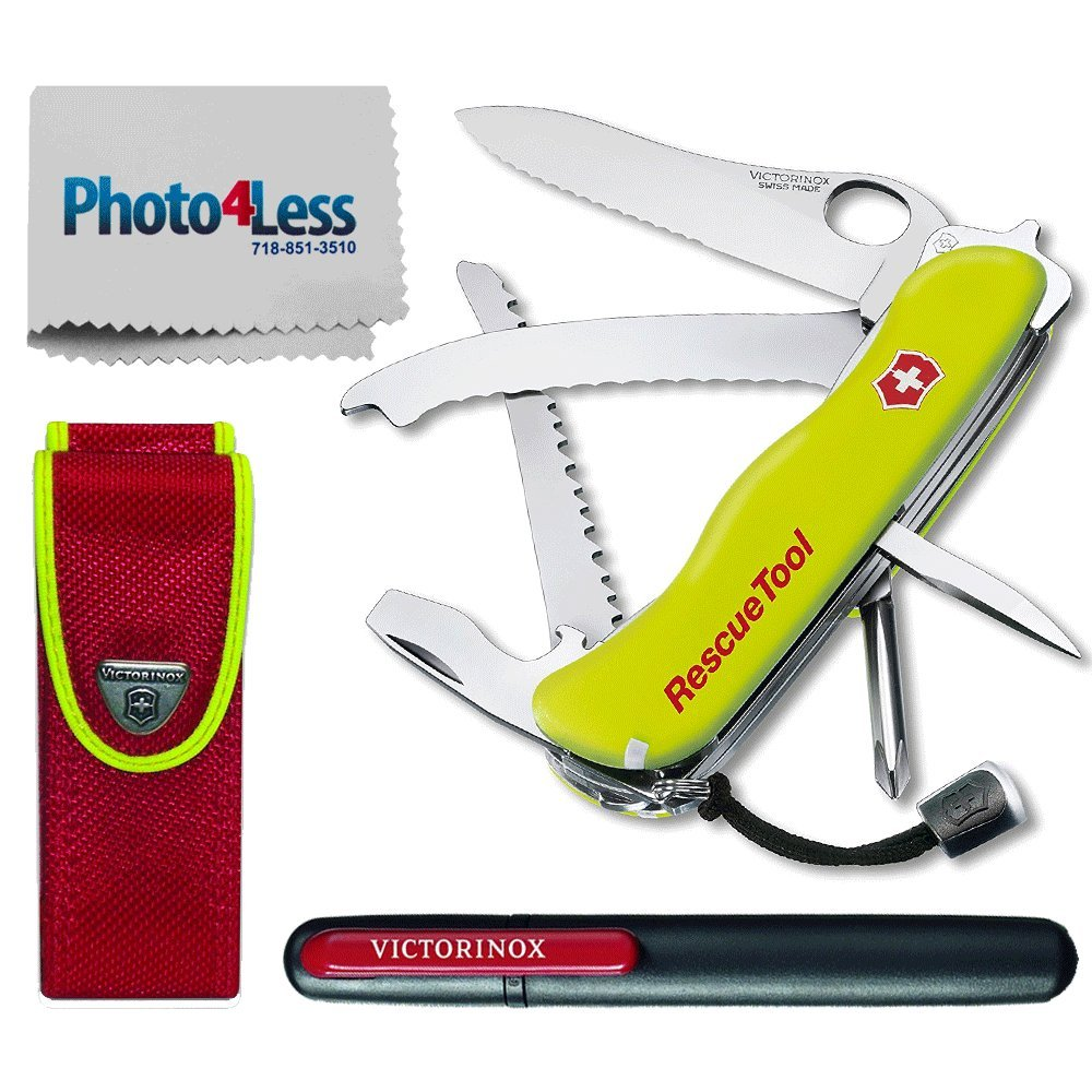 Victorinox Swiss Army Rescue Tool Pocket Knife with Pouch + Pocket Knife Sharpener + Cleaning Cloth - Top Value Bundle! (Fluorescent Yellow)