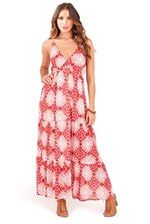66ad59d09 Pistachio Womens Designer Spotted Aztec Strappy Maxi Dress: Amazon.co.uk:  Clothing