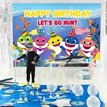 party club Baby Shark Birthday Backdrop 7x5FT Babys Happy Birthday Family Photography Background Under The Sea Kids Bday Party Banner Photo Studio ...
