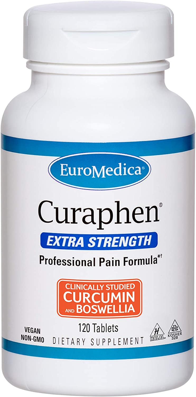 EuroMedica Curaphen Extra Strength - 120 Tabs - Professional Pain Formula - Ultra Potent Curcumin & Boswellia with DLPA & Nattokinase - Clinically-Studied Ingredients, Highly Absorbable - 120 Servings
