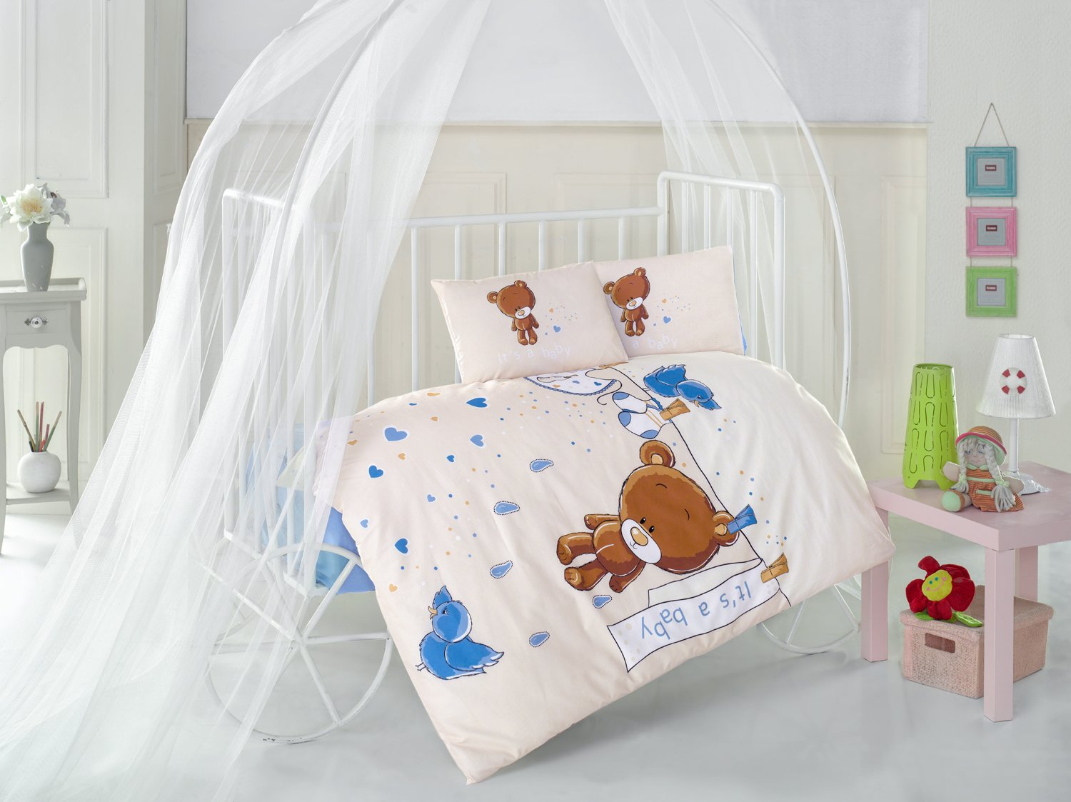 Teddy Bear V2 Blue Baby Cot Bed Duvet Cover Set, 100% Cotton Soft and Healthy 4-Pieces Bedding Set