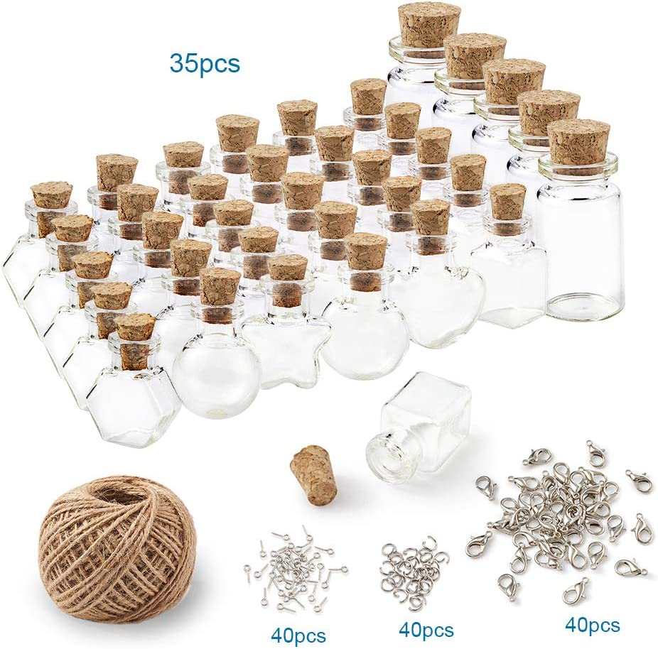 PandaHall 1 juego de botellas de cristal de corcho con cierre de mosquetón, ganchos de tornillo, anillo de saltar y cuerda de cáñamo para manualidades y decoración
