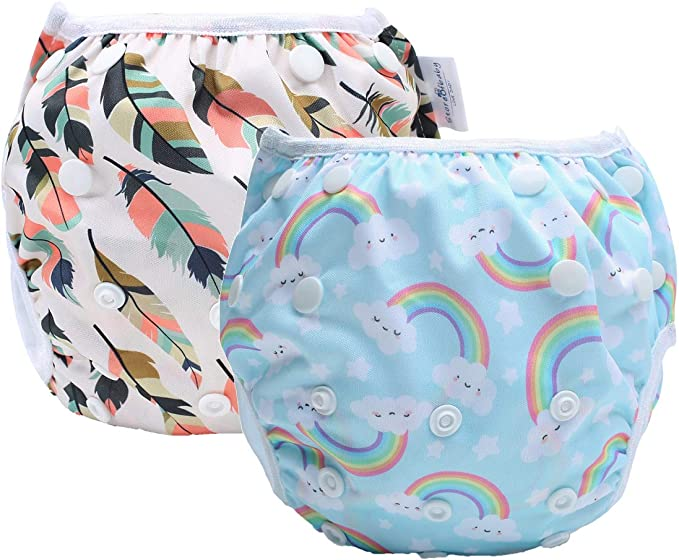 storeofbaby Reusable Swim Diapers Adjustable Stylish Fits 8-36lbs Ultra Premium for Swimming Lessons