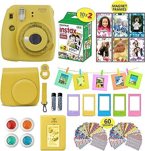 Fujifilm Instax Mini 9 Instax Cámara Bundle (amarillo) + película instantánea cámara 40 hojas + funda + paquete de accesorios de cámara Instax, 1 álbumes, 4 lentes de color, lente selfie, 5 marcos de escritorio + 60 pegatinas: Amazon.es: Electrónica