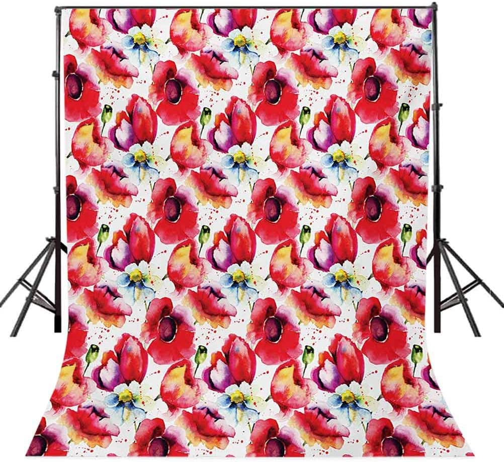 10x15 FT Photo Backdrops,Colorful Combined Mixed Poppy Flower Petals Pattern Spring Garden Theme Paint Effect Background for Baby Shower Birthday Wedding Bridal Shower Party Decoration Photo Studio