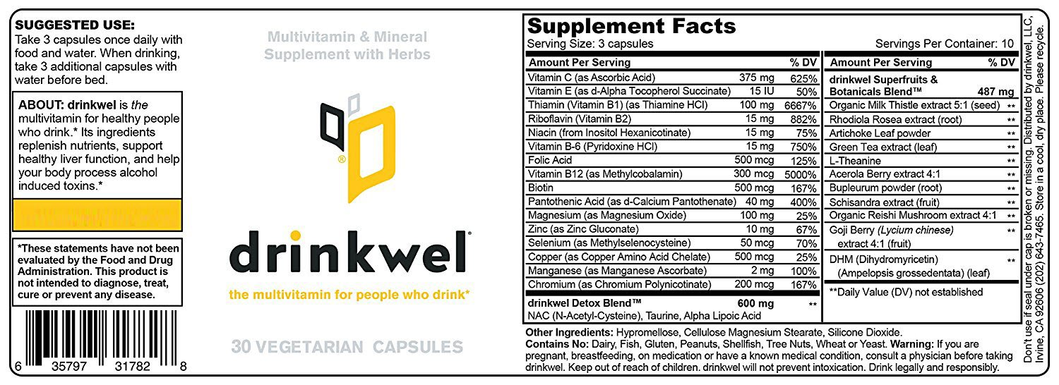 Drinkwel for Hangovers, Nutrient Replenishment & Liver Support (30 Vegetarian Capsules with Organic Milk Thistle, N-acetyl Cysteine, Alpha Lipoic Acid, and DHM) (Travel Size Bottle) by drinkwel (Image #6)