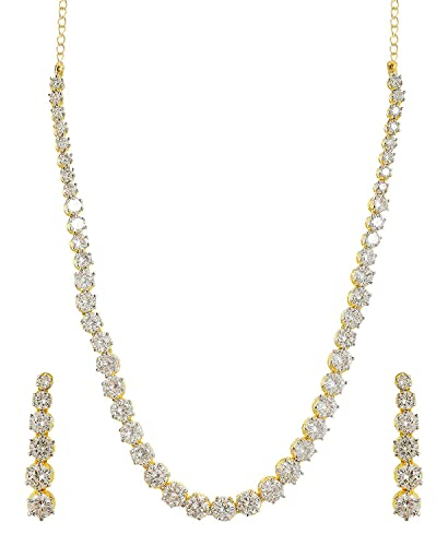 3b555f42880 Buy Ratnavali Jewels American Diamond Cz Gold Plated Necklace Set Tennis  Necklace Single Line Solitaire Set With Chain   Earring For Women Online at  Low ...
