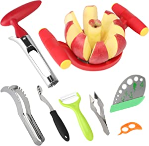 Premium Apple Corer and Slicer Tool Stainless Steel, Ultra-Sharp Large Apple Cutter 8 Slices-Best Grip, Jalapeno Pepper Corer Tool-Reinforced Thicker Blade Pineapple Eye Remover and Herb Stripper