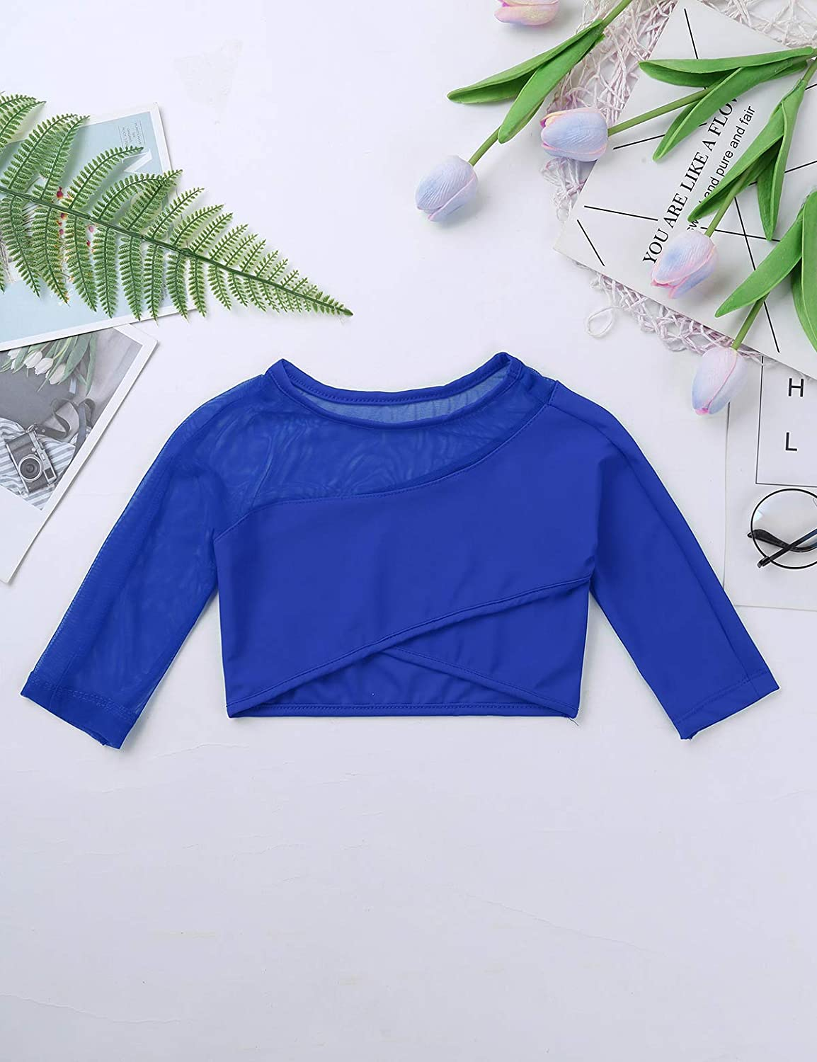 Agoky Kids Girls Long Sleeves Sports Dance Crop Top Outfit for Ballet Gymnastics Leotard Stage Performance Dancewear