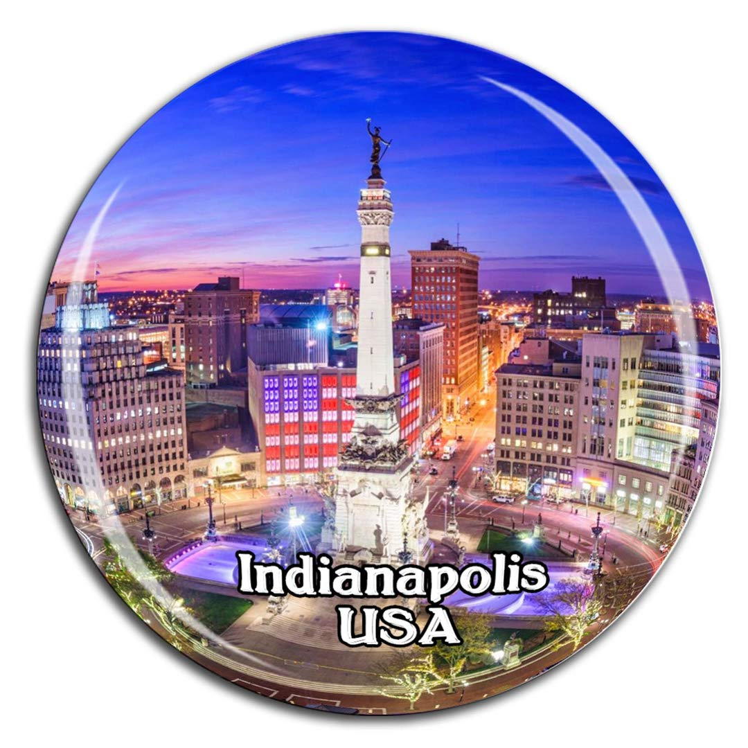 Monument Circle Indianapolis America USA Fridge Magnet 3D Crystal Glass Tourist City Travel Souvenir Collection Gift Strong Refrigerator Sticker