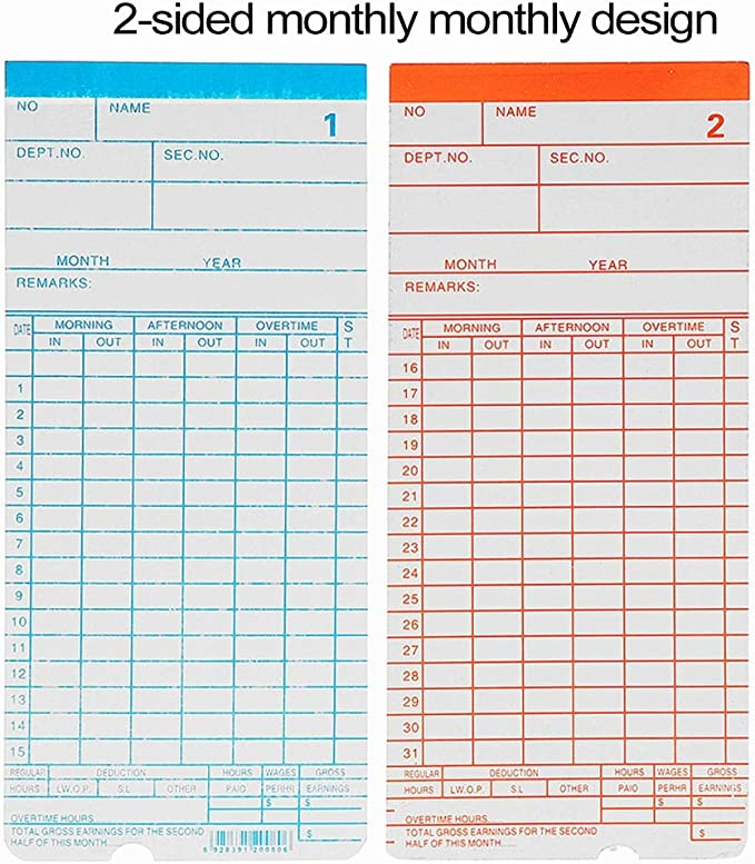 Jiali OfficeProducts for Clock Face Attendance Machine Employees Check in at Work 100 PCS Paper Time Card
