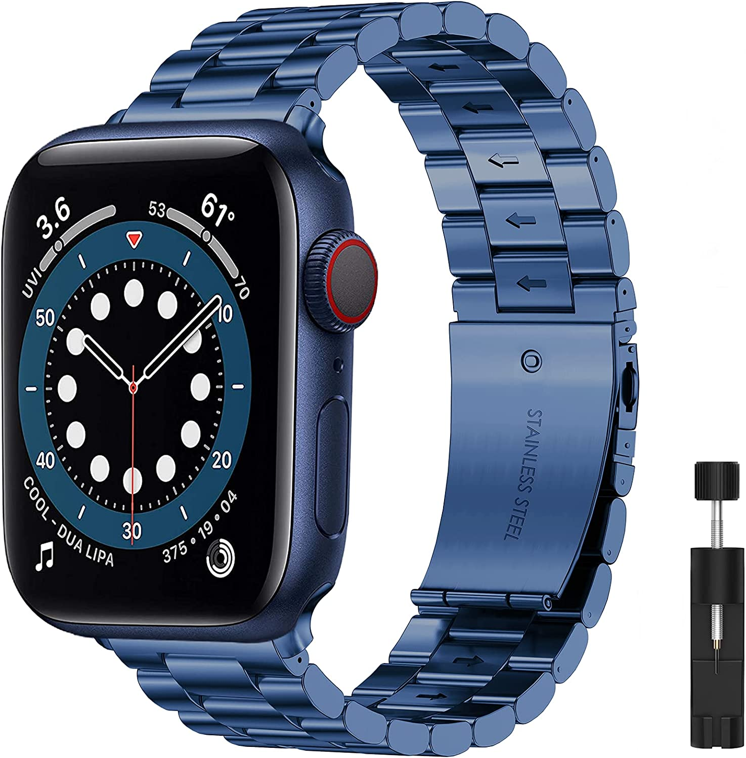 Liwin Metal Band Compatible with Apple Watch Series SE/6/5/4/3/2/1, Series 6 Band for Men Women, Replacement Stainless Steel Business Bracelet Wrist Strap Accessory for iWatch Band (42mm/44mm, Blue)