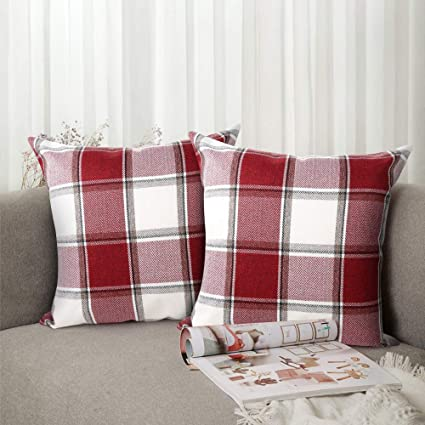 Amazoncom Buffalo Check Throw Pillow Covers 18x18 Cotton Line Red