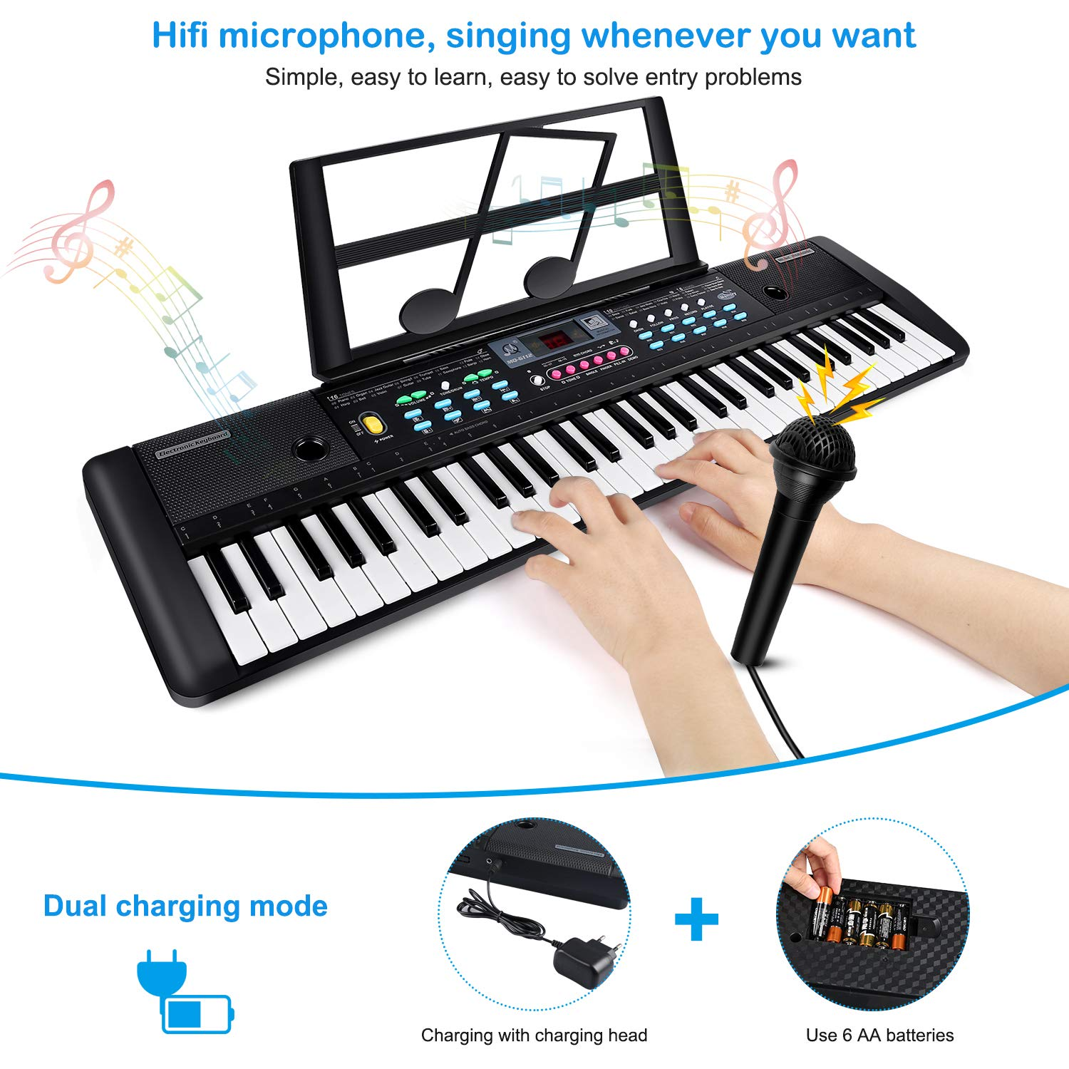ZJTL 61-Key Digital Electric Piano Keyboard & Music Stand & microphone- Portable Electronic Keyboard (Kids & Adults) MQ-6112 by ZJTL (Image #4)