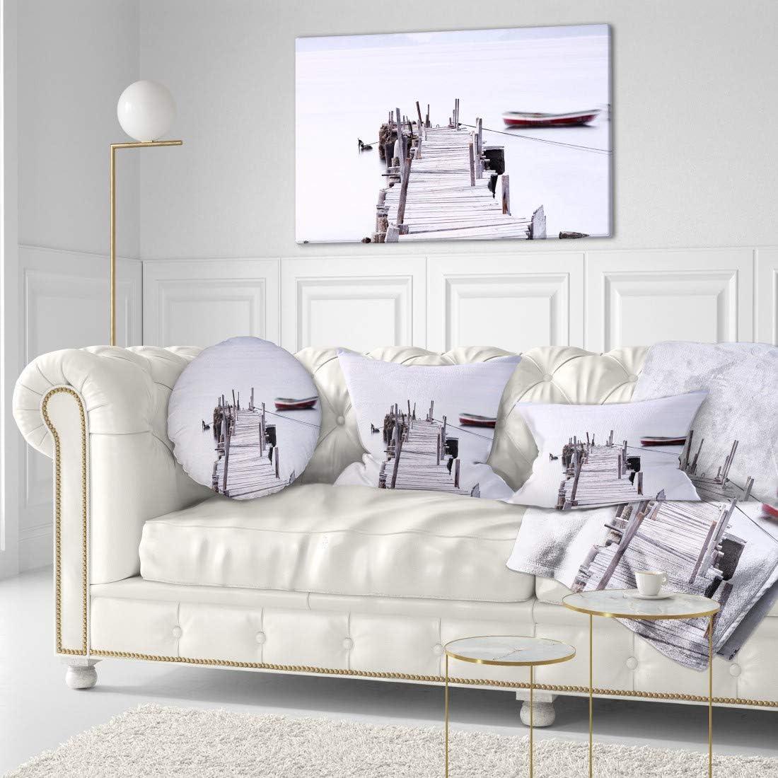Amazon Com Designart Pt8403 40 20 Foggy Sea With Pier And Boats Seascape Photo Canvas Print 40x20 40x20 Blue Posters Prints