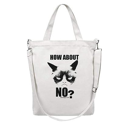 3ba86456c1f1 Amazon.com: Grumpy-Cat-How-About-No- white Women Canvas Shoulder ...