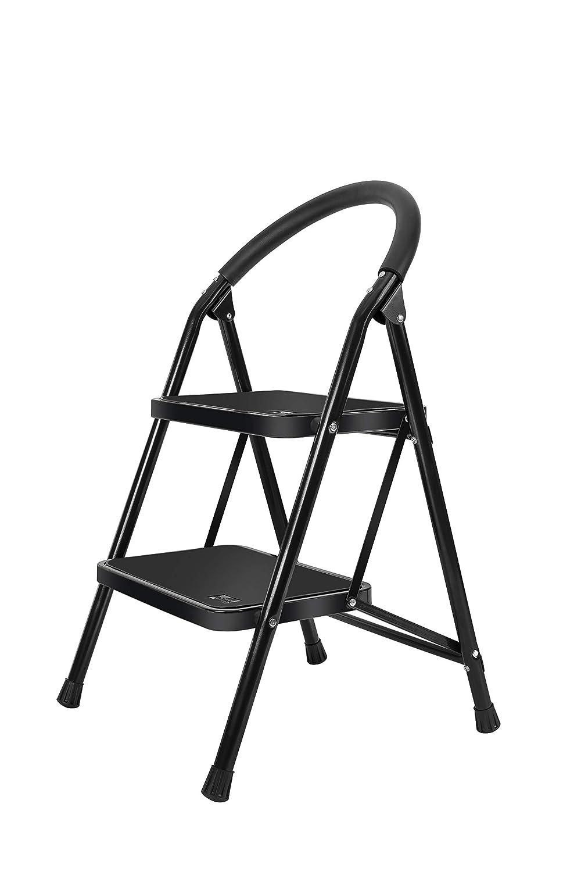 Lightweight 2 Step Ladder Steel Folding Anti Slip Pedal 330lbs Capacity Ladder for Kitchen