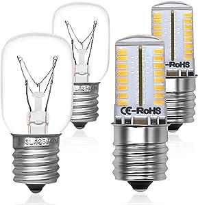 Primeswift 8206232A Microwave Light Bulb 40W 125V & E17 LED Bulb 4W AC110-130V Warm White Compatible with Whirlpool Microwaves (2+2)Pc