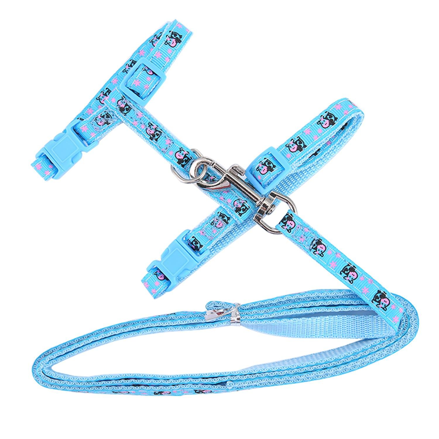 Cat and Other Small Pet Animals Bunny Soft Nylon Strap Belt Safety Rope Leads for Ferret Blue Aolvo Adjustable Kitten//Ferret//Rabbit//Cat Walking Harness and Leash for Walking Escape Proof