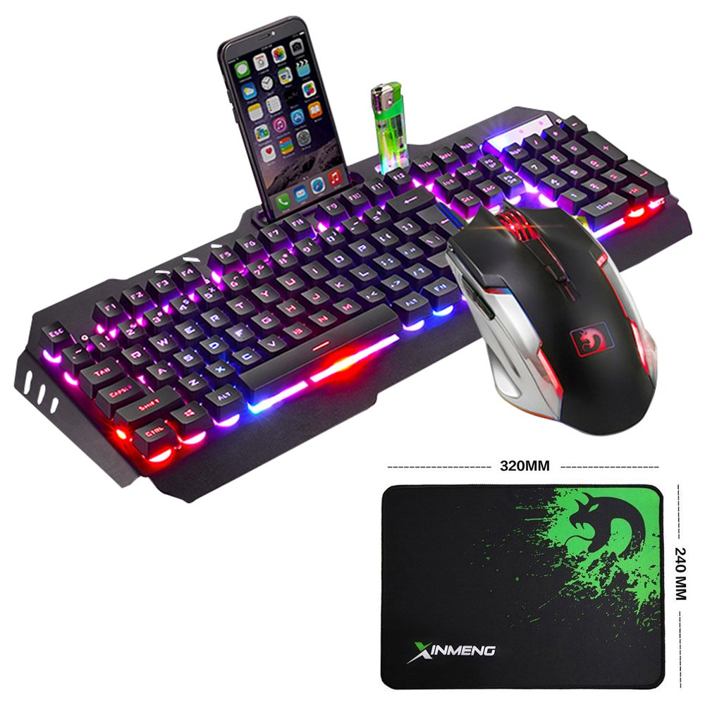 LexonElec@ Technology Keyboard Mouse Combo Gamer Wired Orange Yellow LED Backlit Metal Pro Gaming Keyboard + 2400DPI 6 Buttons Mouse + Mouse Pad for Laptop PC (Black & Yellow Backlit)