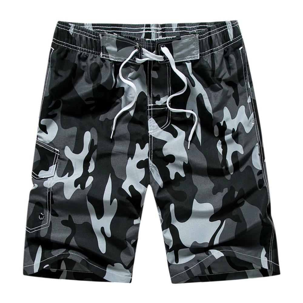 DAFENGEA Men's Summer Beach Swim Trunks Quick Dry Surf Board Casual Shorts,STK1001-Grey camouflage1-XL