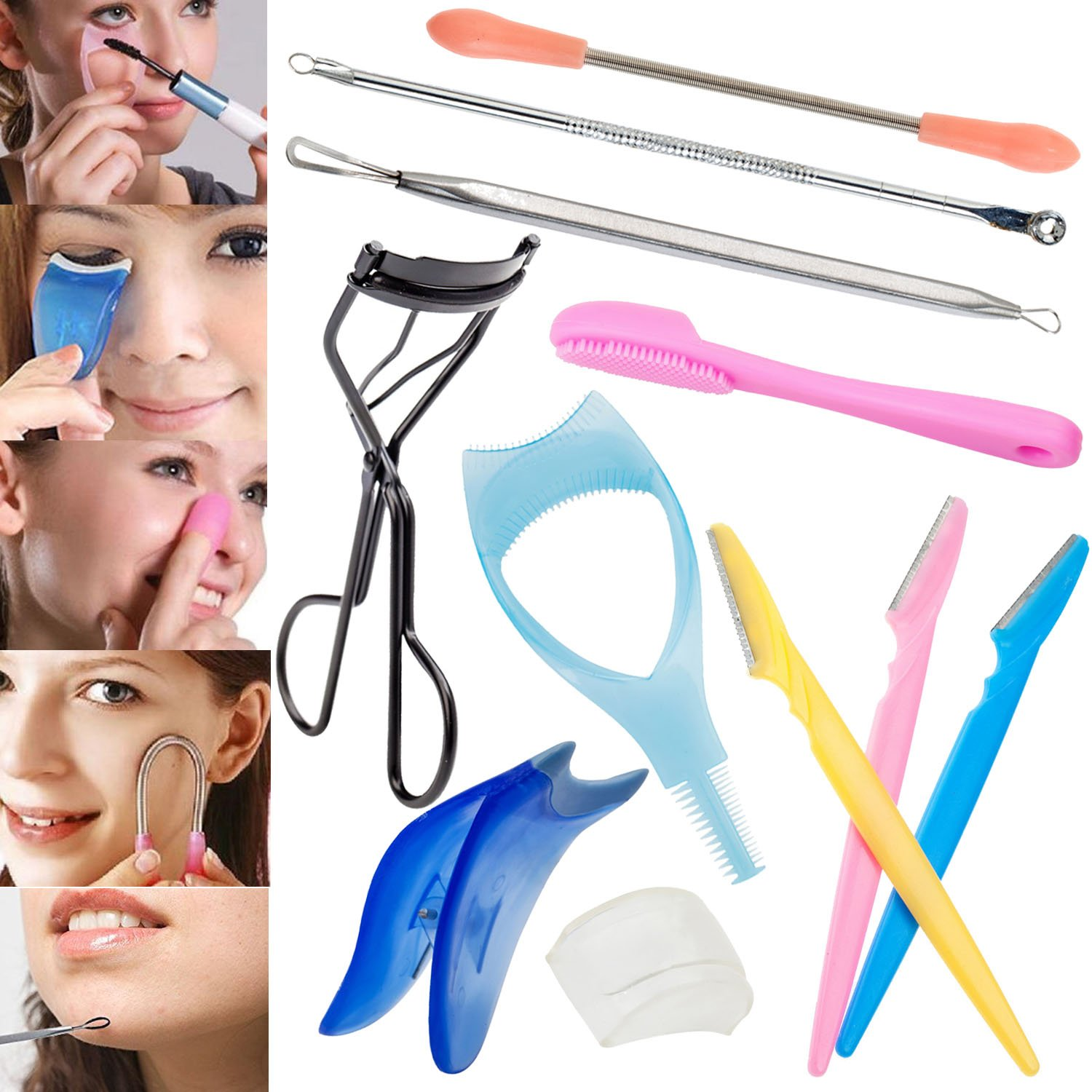 Complete Facial Skin Care Make Up Tools Set Kit With Hair Remover Spring, Blackhead Removers, Mascara And Eyelash Applicators, Eyelash Curler, Eyebrows Razors and Silicone Pore Cleaner By VAGA®