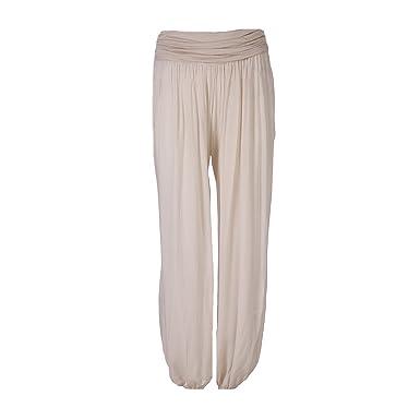 87ed67517b71 FASHION YOU WANT Damen Sommerhose Pumphose Haremshose Uni Farben (34 36,  beige)