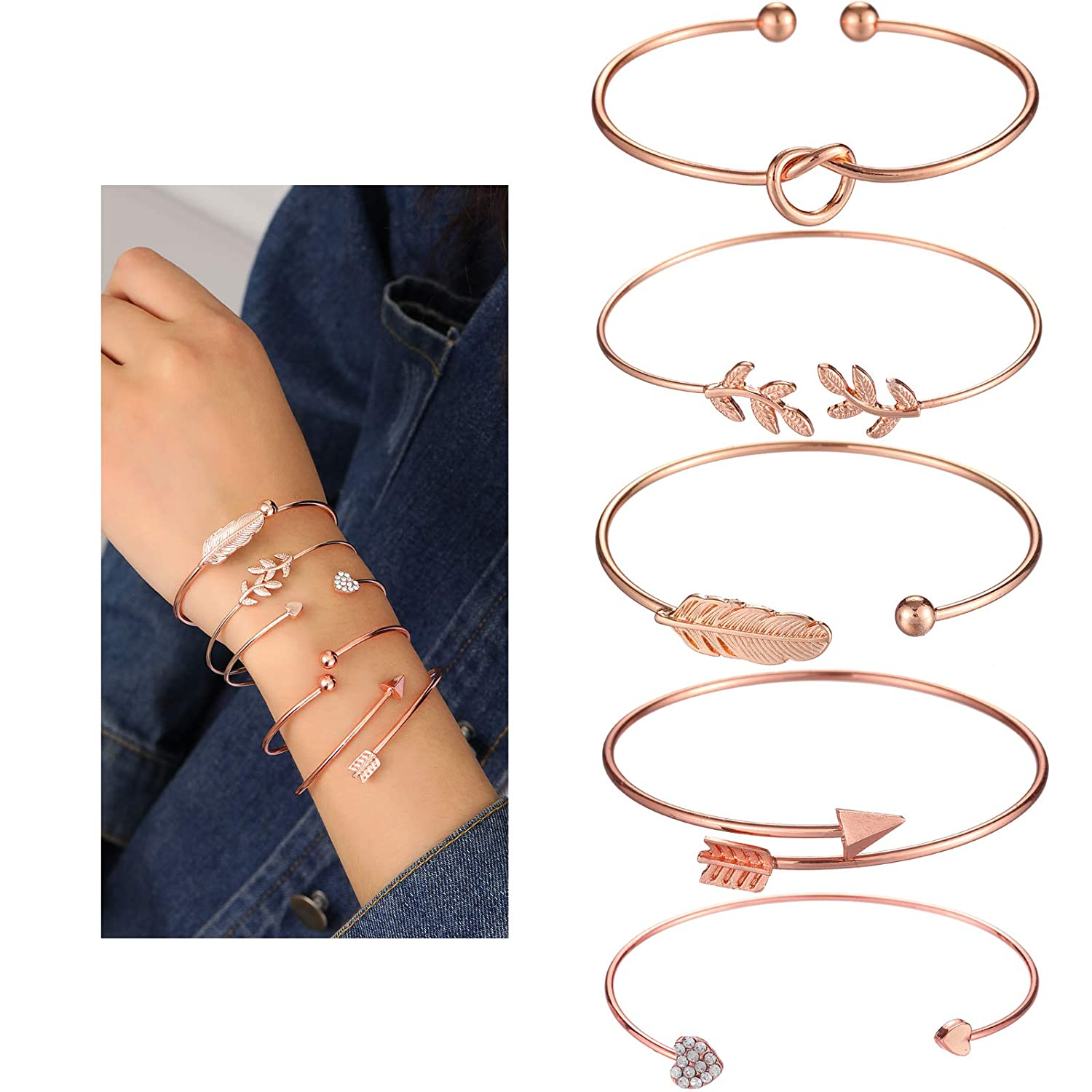 10pcs Bangle Rose Gold Bracelets for Women Girls Heart|Olive Leaf|Arrow|Feather|Knot Heart|Bowknot|Triangle|Six-Pointed Star Open Cuff Bracelet Set Adjustable