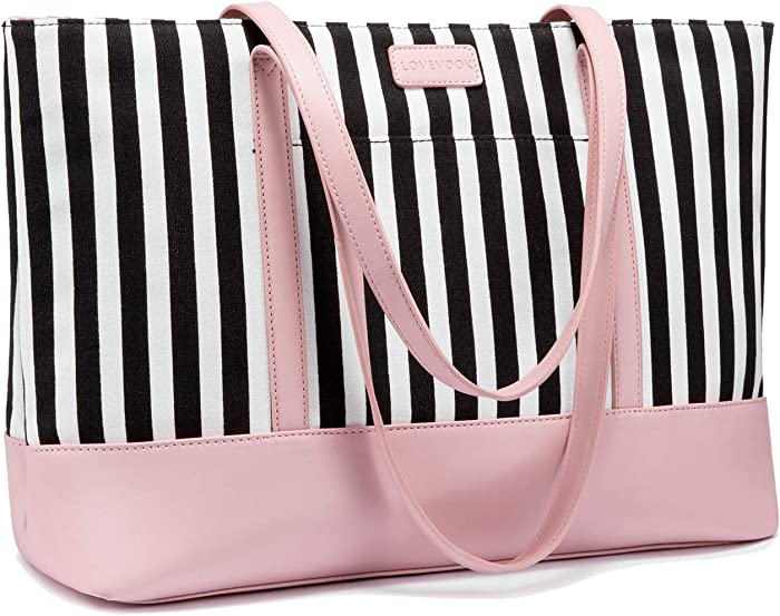 Laptop Tote Bag for Women Cute Computer Bag Large Laptop Purse, 15.6 Inch, Stripe (Canvas) + Pink (Faux Leather)