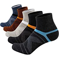 Joodax Men's Socks Athletic Ankle Socks Performance Cotton Cushioned Colorful Socks for Sports 5 Pairs Pack