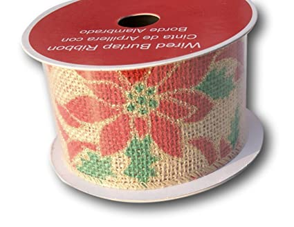 holiday christmas poinsettia and holly wired burlap ribbon spool 25