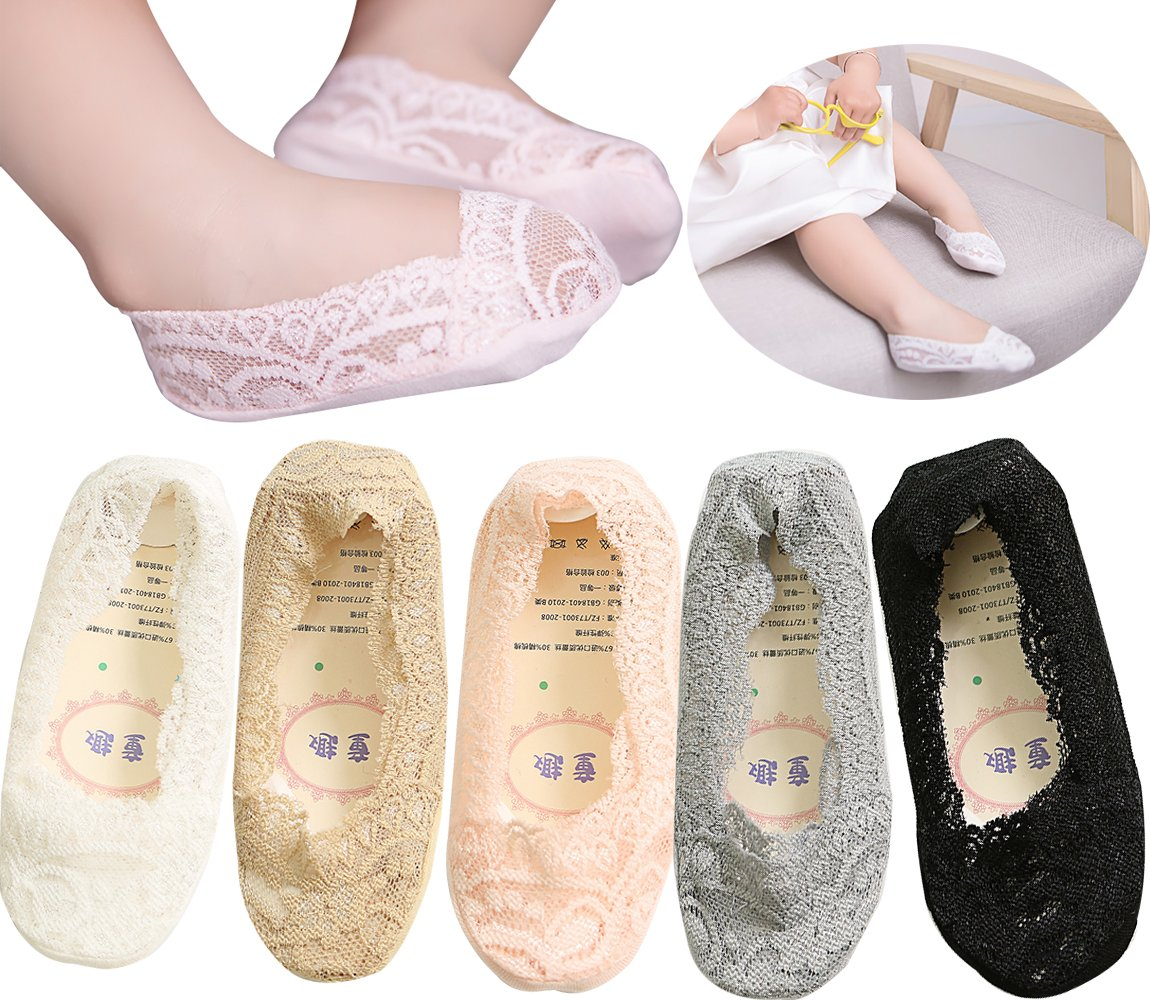 PenGreat 5 Pairs Toddler Girls Summer Invisible Low cut Lace Cotton No Show Liner Socks