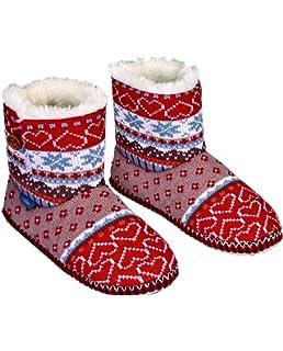 Zapatillas de estar por casa Navideñas con corazones y estrellas de navidadTalla 38/39 OrXVs