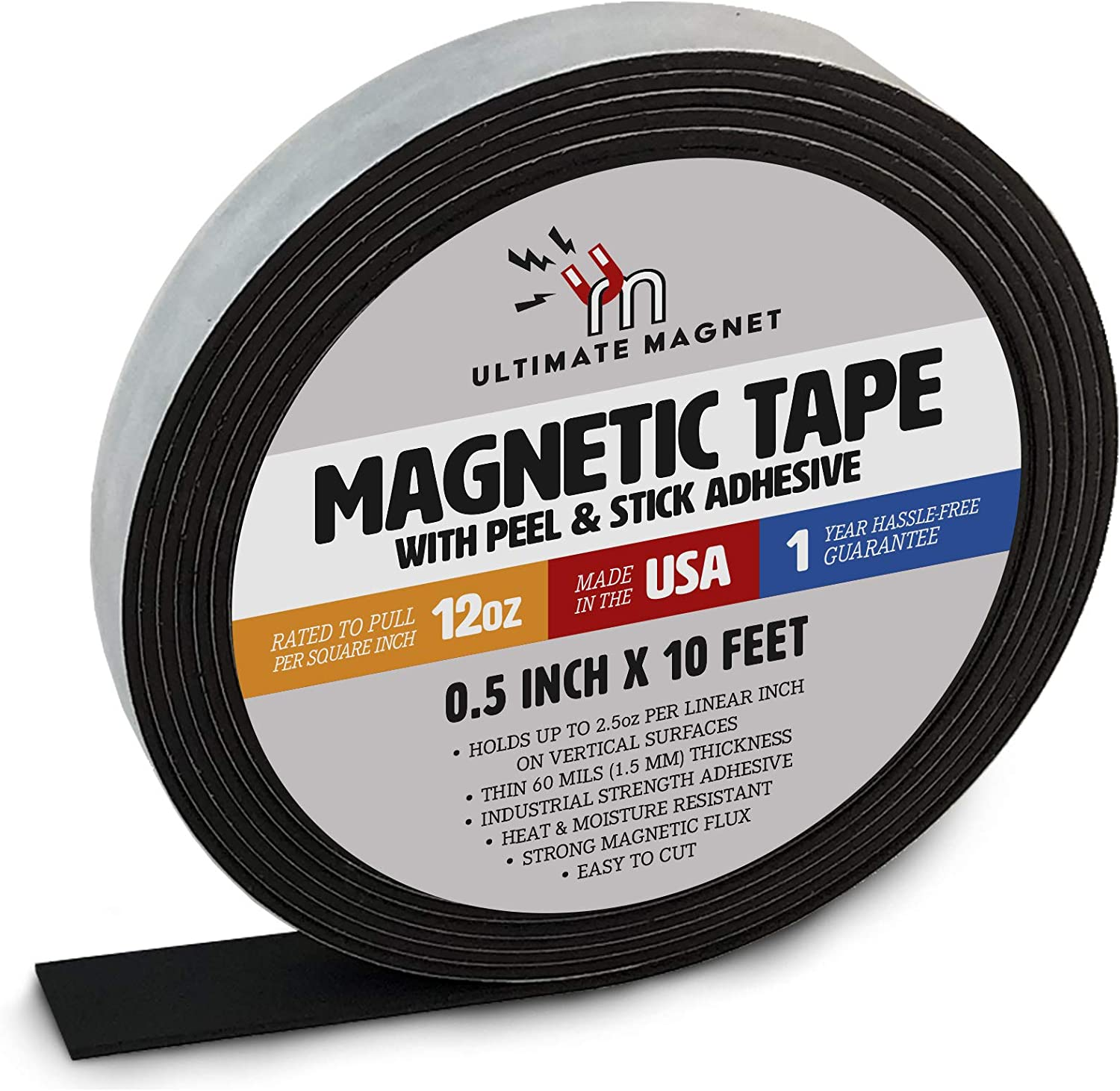 1//2 Inch x 10 Feet Ultimate Magnet Heavy Duty Flexible Magnetic Tape Roll with Self Adhesive Backing Strip 1 Pack